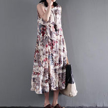 Load image into Gallery viewer, Print floral cotton maxi dress summer sleeveless dresses gown fit flare dress