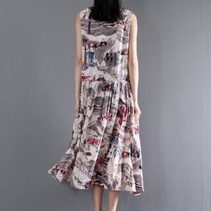 Print floral cotton maxi dress summer sleeveless dresses gown fit flare dress