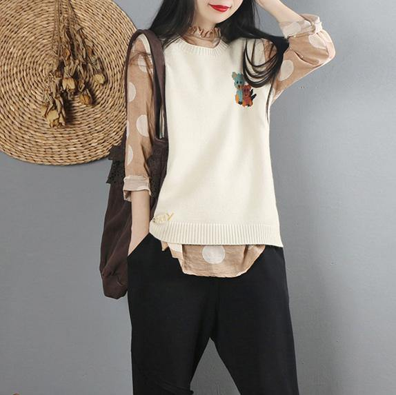Pullover beige Sweater Blouse casual o neck sweaters sleeveless