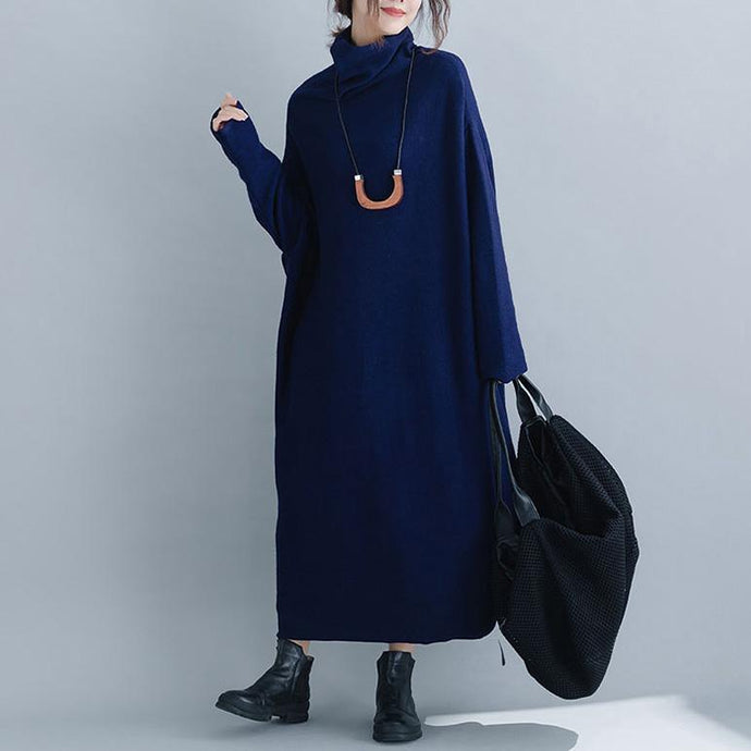 Pullover blue Sweater dress outfit Upcycle baggy spring high neck patchwork knit dress
