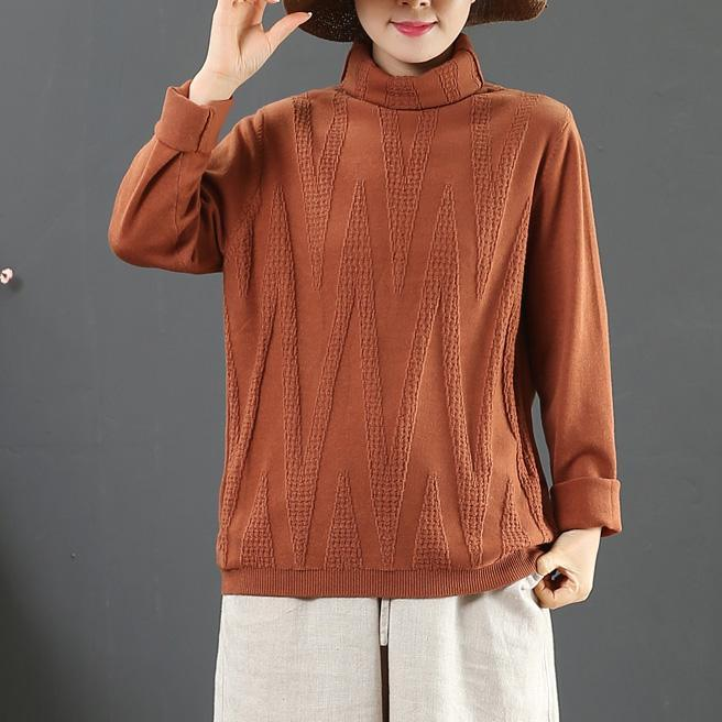 Pullover dark red clothes For Women winter plus size high neck knit tops