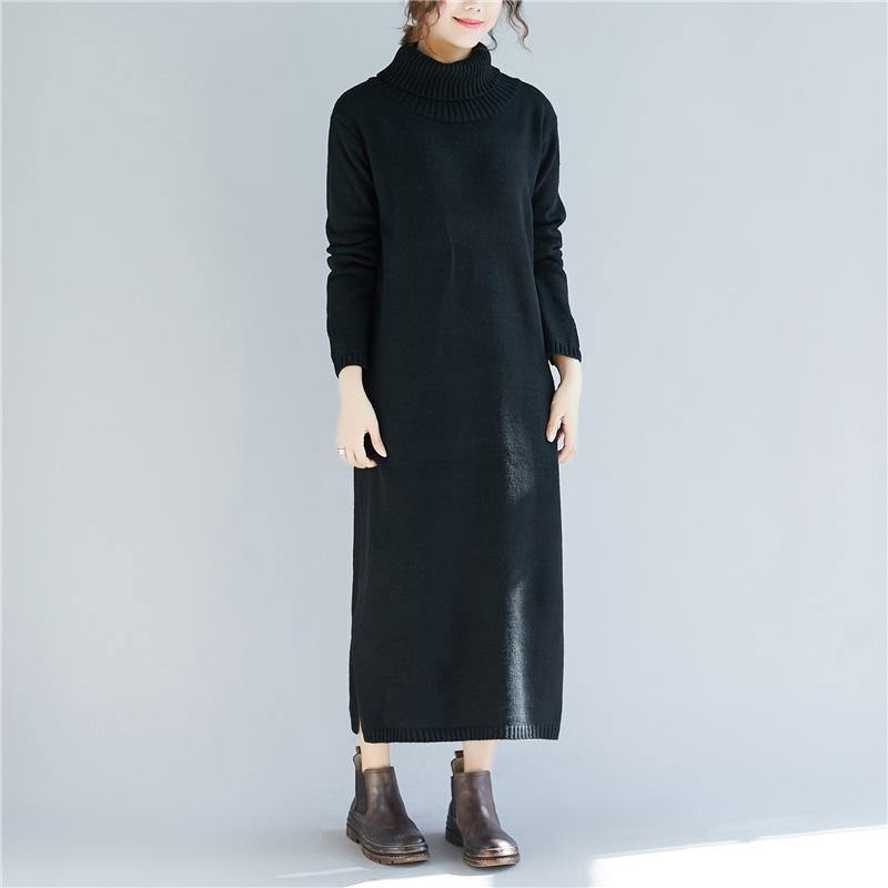Pullover high neck Sweater dresses Vintage side open black daily knitted dress fall