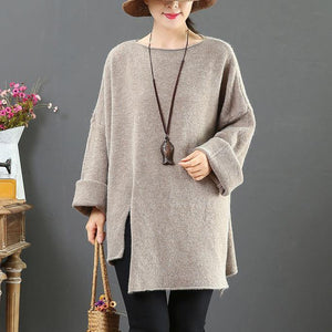 Pullover khaki knit blouse o neck plus size side open knitwear