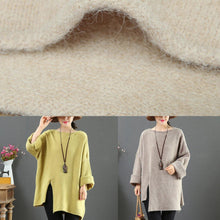 Load image into Gallery viewer, Pullover khaki knit blouse o neck plus size side open knitwear