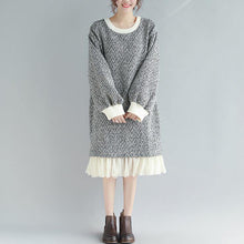 Load image into Gallery viewer, Pullover o neck Ruffles Sweater Aesthetic Moda gray Fuzzy knitwear