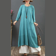 Load image into Gallery viewer, Pullover one pockets Sweater o neck dress outfit DIY blue baggy knit dress