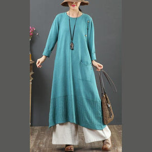 Pullover one pockets Sweater o neck dress outfit DIY blue baggy knit dress