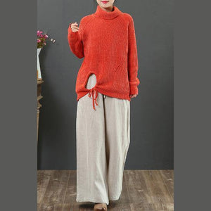 Pullover orange clothes For Women winter casual high neck knit sweat tops