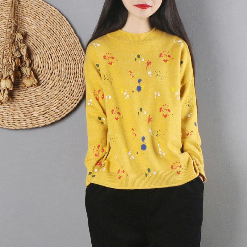 Pullover yellow print sweater tops fall fashion o neck knitwear long sleeve