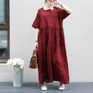 Pure Color Wrinkled Texture Pleated Dress
