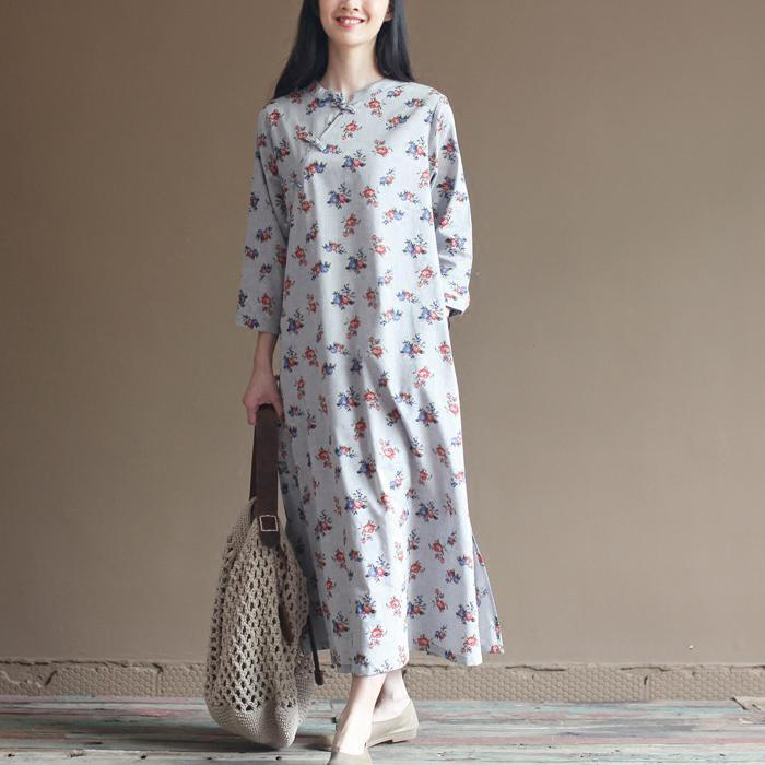 Pure cotton flower print elegant maxi dresses long sleeve sprint dress