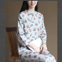 Load image into Gallery viewer, Pure cotton flower print elegant maxi dresses long sleeve sprint dress