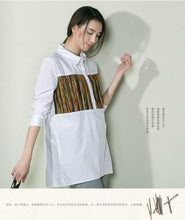 Load image into Gallery viewer, Pure cotton women white shirt print top blouse