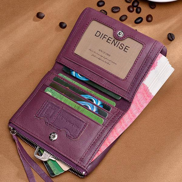 Purple Genuine Leather Durable Business Wallet Portable Purse