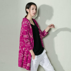 Purple Graffiti cotton cardigan spring shirt blouse