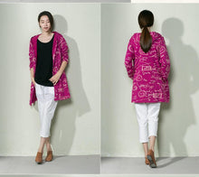 Load image into Gallery viewer, Purple Graffiti cotton cardigan spring shirt blouse