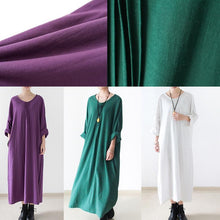 Load image into Gallery viewer, Purple cotton dresses fall long maxi dress