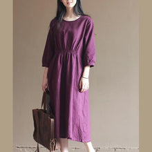 Load image into Gallery viewer, Purple elastic waist tunic cotton dresses oversize caftans