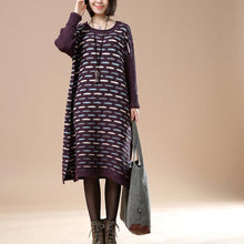 Laden Sie das Bild in den Galerie-Viewer, Purple knit sweaters oversize winter dresses