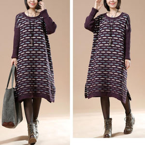 Purple knit sweaters oversize winter dresses