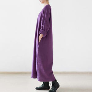 Purple linen caftans long bracelet sleeve linen maxi dress