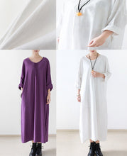 Laden Sie das Bild in den Galerie-Viewer, Purple linen caftans long bracelet sleeve linen maxi dress