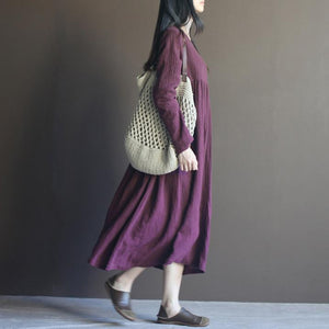 Purple long sleeve linen maxi dress sundresses plus size linen clothing