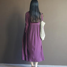 Load image into Gallery viewer, Purple long sleeve linen maxi dress sundresses plus size linen clothing