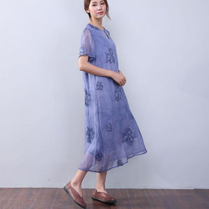 Women Retro Loose Casual Cotton Short Sleeves Jacquard Purple Dress