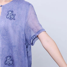 Load image into Gallery viewer, Women Retro Loose Casual Cotton Short Sleeves Jacquard Purple Dress