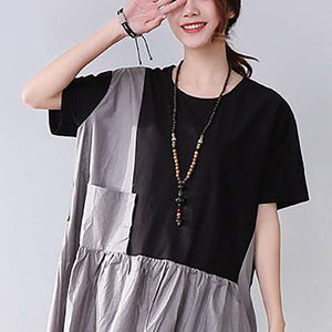 Novelty Cotton Pocket Short Sleeves Women Black Dress