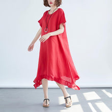 Load image into Gallery viewer, Women Round Neck Short Sleeve Loose Red Dress