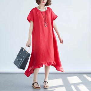 Women Round Neck Short Sleeve Loose Red Dress