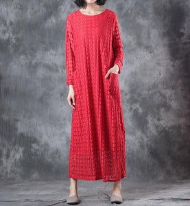 Round Neck Lace Long Sleeve Lining Women Red Dress