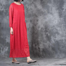 Laden Sie das Bild in den Galerie-Viewer, Round Neck Lace Long Sleeve Lining Women Red Dress