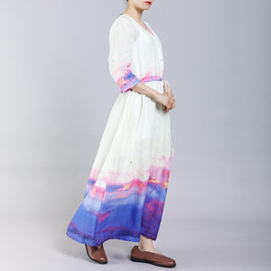Ramie Indie Folk V-Neck Half Sleeve Dress