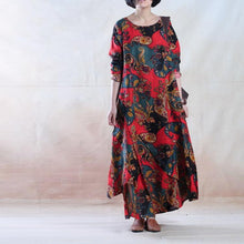 Load image into Gallery viewer, Red Poppy flower - Linen dress maxis spring maxi linen gown oversize