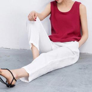 Red breathy linen tank top women summer blouse t shirt