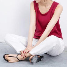Load image into Gallery viewer, Red breathy linen tank top women summer blouse t shirt