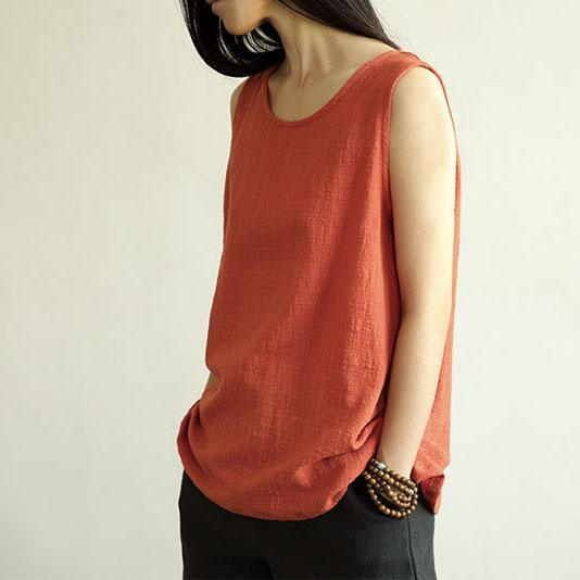 Red casual natural linen women shirt tank top sleeveless blouse breathy fabric