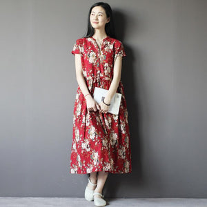 Red floral cotton sundress sleeveless linen maxi dress