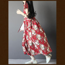 Laden Sie das Bild in den Galerie-Viewer, Red floral cotton sundress sleeveless linen maxi dress