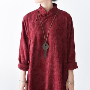 Red floral linen dresses vintage long sleeve cotton dress plus size gown caftans