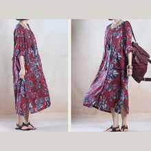 Load image into Gallery viewer, Red floral plus size maxi sundress loose fit long summer dresses long sleeve
