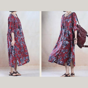 Red floral plus size maxi sundress loose fit long summer dresses long sleeve