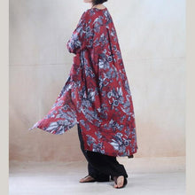 Laden Sie das Bild in den Galerie-Viewer, Red floral plus size maxi sundress loose fit long summer dresses long sleeve