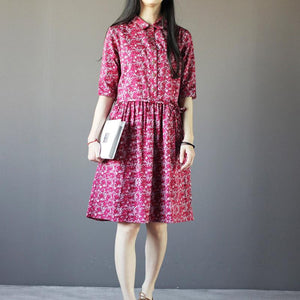 Red foral linen sundress print cotton knee dress