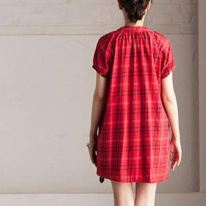 Red grid summer shirt dress linen short sundress
