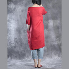 Load image into Gallery viewer, Red half sleeve shift dress summer dresses linen dress