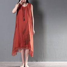 Laden Sie das Bild in den Galerie-Viewer, Red layered summer dresses silk and linen patchwork new design sundress